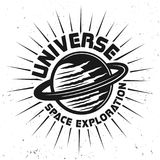 Planet with text universe space exploration emblem. Planet saturn with text universe space exploration vector emblem, label or badge on white background Stock Images