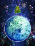 Planet with tree, night Royalty Free Stock Image