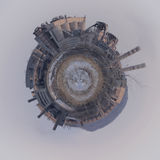 Planet `Tube Cement factory` contaminate the environment. Planet `Tube Cement factory` was transformed into a ball in Photoshop stock photos