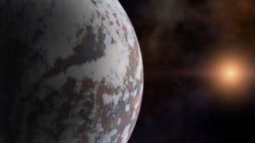 Planet und ein Stern über dem Raumnebelfleck Stockfotografie