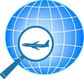 Planet und Flugzeug im Vergrößerungsglas Stockfotografie