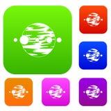Planet und Monde eingestellte Farbsammlung vektor abbildung