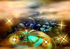 Planet und Sterne lizenzfreie abbildung