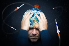 Planet unter der Drohung des Atomkriegs stockfoto