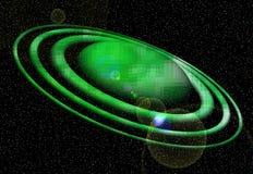 planet Upplysta gröna omlopp, planet, snö, stjärnor, natt, ljus, måne, abstrakt bakgrund stock illustrationer