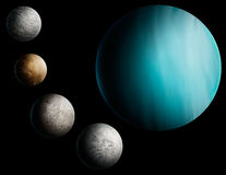 Planet Uranus Digital Art Illustration. A digital painting of the planet Uranus and 4 of its many moons Royalty Free Stock Photos