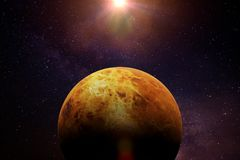 Planet Venus lit by the Sun and the stars. Artist`s impression of the cloudy planet Stock Photo