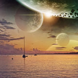 Planet view from a beach Stock Images