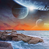 Planet view from a beach Royalty Free Stock Images