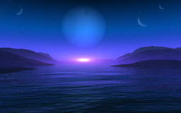 Planet Vision. This image shows a suset from a foreign planet royalty free illustration