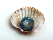Planet water. Planet earth within a shell Stock Photos