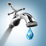 Planet in water drop. Water conservation concept - Usa Royalty Free Stock Image