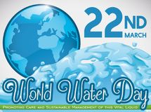 Planet and Wave for World Water Day in March 22, Vector Illustration. Beautiful Earth planet in a blue button, all in blue with a wave surge to commemorate World Royalty Free Stock Image