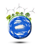 Planet with wind turbines Stock Image
