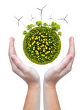 Planet with wind turbines Stock Photography