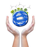 Planet with wind turbines Royalty Free Stock Photography