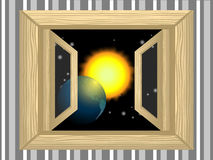 Planet in the window. Space for wooden outdoor window vector illustration
