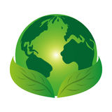 Planet world green leaves leaf icon Royalty Free Stock Photos