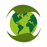 Planet world green leaves leaf icon Stock Photography