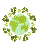 Planet in wreath of leaves. Сonceptual image of a green energy and pollute.Ecology icons. Ecology icons set. Ecology icons flat. Ecology icons illustration Royalty Free Stock Photos