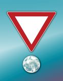 Planet Yield!. Computer generated design concept. Yield sign above planet. Add your message inside the yield sign Stock Image