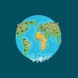Planet zwierzęta i ziemia Bestia na kontynentach mapa ilustracyjny stary świat Geogra ilustracja wektor