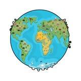 Planet zwierzęta i ziemia Bestia na kontynentach mapa ilustracyjny stary świat Geogra ilustracji