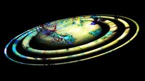 Planeta, órbitas vermelhas azuis, luzes, céu, imagem da estrela, terra, projeto da galáxia e fundo ilustração royalty free