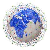 Planeta abstracto de la red aislado en el backgrou blanco Imagen de archivo libre de regalías