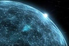 Planeta abstracto de la red en espacio Imagenes de archivo