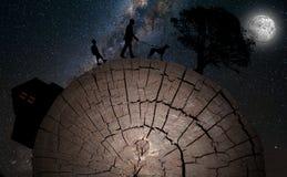 Planeta abstracto hecho de la madera ilustración del vector