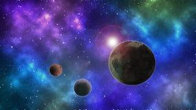 Planeta abstrato no espaço Fundo colorido do espaço Planeta e lua Protagonizar no papel de parede do espaço foto de stock