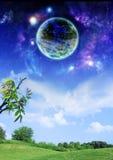 Planeta acima da terra ilustração do vetor