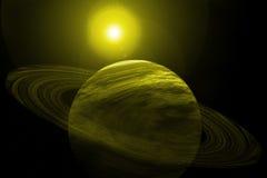 Planeta amarelo com anéis, estrelas e Sun ilustração royalty free