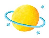 Planeta amarelo com anel azul Fotografia de Stock