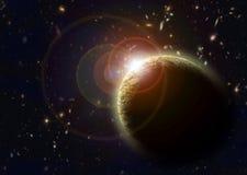 Planeta amarillo en espacio exterior Fotos de archivo libres de regalías