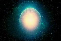 Planeta ardente e explodindo do fundo apocalíptico abstrato - ilustração do vetor