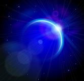 Planeta azul con las profundidades del espacio