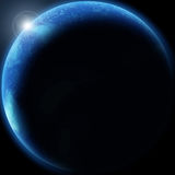 Planeta azul con resplandor solar Imágenes de archivo libres de regalías