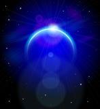 Planeta azul nas profundidades do espaço Foto de Stock Royalty Free