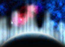 Planeta azul, nebulosas, estrellas y líneas abstractas Imagen de archivo