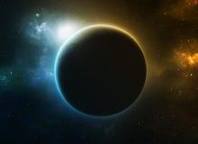 Planeta azul y anaranjado ilustración del vector
