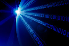 Planeta binario azul en perspectiva Fotografía de archivo libre de regalías