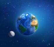 Planeta blask księżyca w głębokiej przestrzeni i ziemia ilustracji