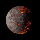 Planeta caliente extranjero en la representación negra del fondo 3d Fotos de archivo libres de regalías