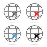 Planeta con el ejemplo determinado del aeroplano Imagen de archivo libre de regalías