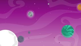 Planeta con el objeto de la historieta en espacio libre illustration