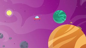 Planeta con el objeto de la historieta en espacio stock de ilustración