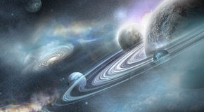 Planeta con el sistema numeroso del anillo Foto de archivo