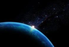 Planeta con la galaxia Imagenes de archivo